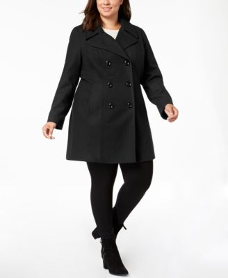 Plus Size Double-Breasted Peacoat