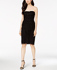 Adrianna Papell Beaded Strapless Sheath Dress