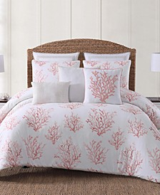 Cove Coral Printed 3 Piece King  Comforter Set
