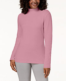 Karen Scott Cotton Mock-Neck Top, Created for Macy's