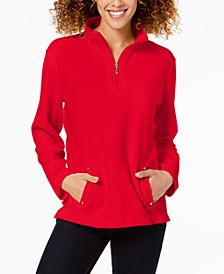 Petite Zip-Neck Top, Created For Macy's