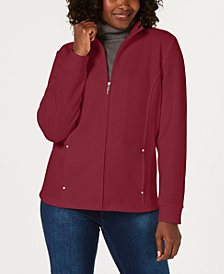 Karen Scott Casual Zip-Front Jacket, Created for Macy's