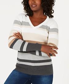Karen Scott Petite V-Neck Striped Sweater, Created for Macy's