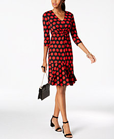 I.N.C. Polka Dot Ruffled-Hem Dress, Created for Macy's