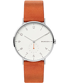 Skagen Men's Aaren Brown Leather Strap Watch 40mm