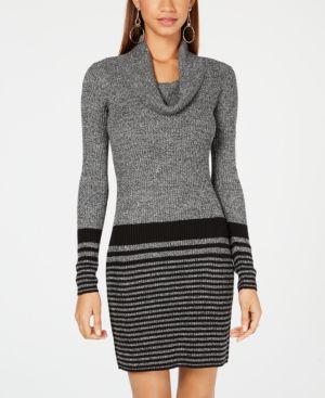 BCX | Bcx Juniors' Cowl-Neck Striped Sweater Dress | Goxip