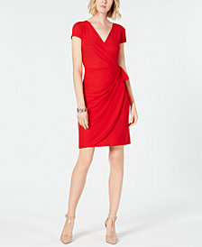 I.N.C. Cap-Sleeve Faux-Wrap Dress, Created for Macy's