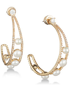 "Carolee Gold-Tone Crystal & Freshwater Pearl 1 1/2"" Open Hoop Earrings"
