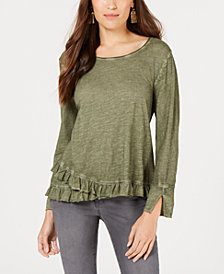 Style & Co Petite Ruffle-Hem Top, Created for Macy's