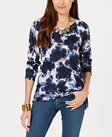Style & Co Petite Scoop-Neck Printed Top, Created for Macy's