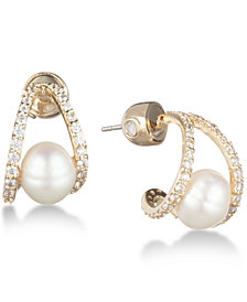 Carolee Gold-Tone Crystal & Freshwater Pearl (8mm) Huggie Hoop Earrings