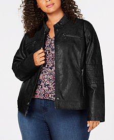 Maralyn & Me Juniors' Plus Size Faux-Leather Moto Jacket