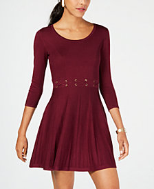 BCX Juniors' Laced-Waist Fit & Flare Sweater Dress