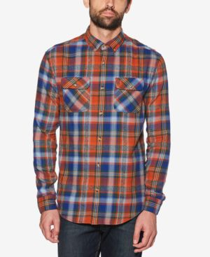 ORIGINAL PENGUIN Twisted Yarn Flannel Shirt in Mazarine Blue