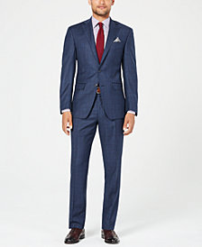 Tallia Men's Slim-Fit Stretch Navy Plaid Wool Suit