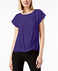 I.N.C. Petite Draped-Hem Top, Created for Macy's