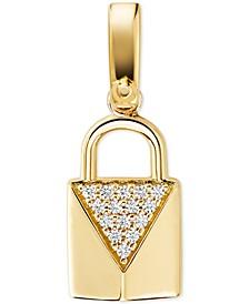 Women's Custom Kors Sterling Silver Pave Padlock Charm