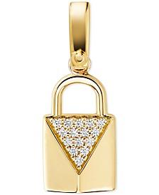 Michael Kors Women's Custom Kors Sterling Silver Pave Padlock Charm