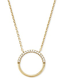 Michael Kors Women's Custom Kors Sterling Silver Pave Ring Starter Necklace