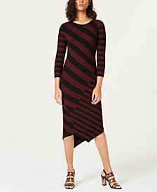 Bar III Striped Asymmetrical Sweater Dress, Created for Macy's
