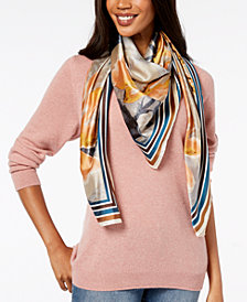 Vince Camuto Dreamtime Flowers Striped-Border Square Scarf