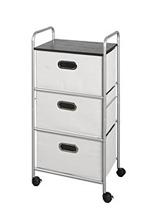 3-Drawer Storage Cart with MDF Top, Gray Bins