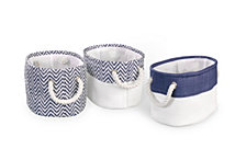 3-Pack Chevron Bin Set, Blue
