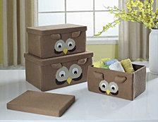 3 Piece Owl Storage Box Set