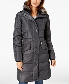 Hooded Faux-Fur-Trim Down Puffer Coat