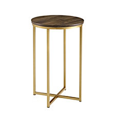 "16"" Round Side Table - Dark Walnut/Gold"