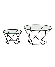 Bohemian Geometric Glass Nesting Coffee Table Set- Glass/Black