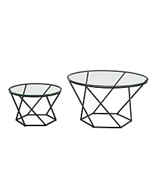 Geometric Glass Nesting Coffee Table Set- Black