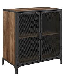 "30"" Industrial Accent Cabinet w/ Mesh - Rustic Oak"