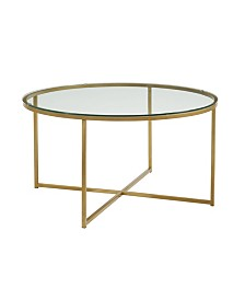 "36"" Round Glass Coffee Table with Gold Metal X-Base"