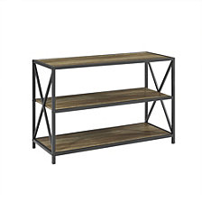 "40"" Urban Industrial X-Frame Metal and Wood Bookcase - Rustic Oak"