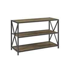 "40"" X-Frame Metal and Wood Media Bookshelf - Rustic Oak"