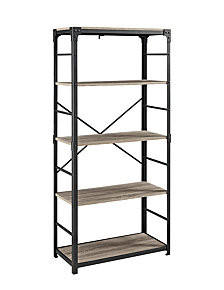 "64"" Angle Iron Bookshelf - Driftwood"