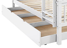 Solid Wood Twin Bunk Bed with Trundle Bed - White