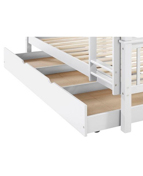 Walker Edison Solid Wood Twin Bunk Bed With Trundle Bed White
