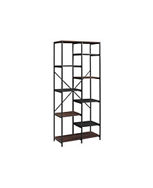"68"" Urban Industrial Multi-Level Mesh and Wood Bookshelf - Dark Walnut"