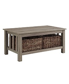 """40"""" Wood Storage Coffee Table with Totes - Driftwood"""