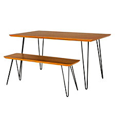 Contemporary Square Hairpin 2-Piece Dining Set - Walnut/Black