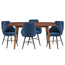 Mid-Century 5 Piece Dining Set - Acorn/Blue