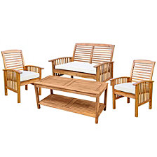 4-Piece Acacia Wood Outdoor Patio Conversation Set with Cushions - Brown