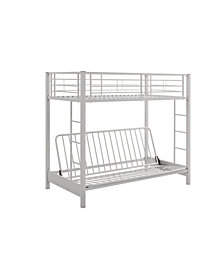 Premium Metal Twin over Futon Bunk Bed - White