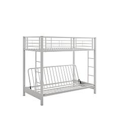 Premium Metal Twin over Futon Bunk Bed - White