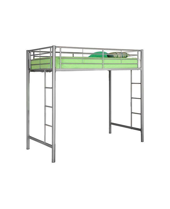Walker Edison Premium Metal Twin Loft Bed - Silver