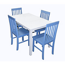 5-Piece Mid Century White Wood Kitchen Dining Set - Powder Blue
