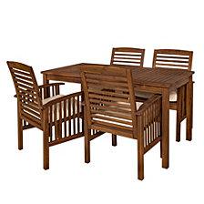 Acacia Wood Simple Patio 5-Piece Dining Set - Dark Brown