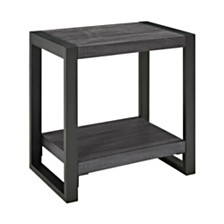"24"" Urban Industrial Side Table Nightstand - Charcoal"